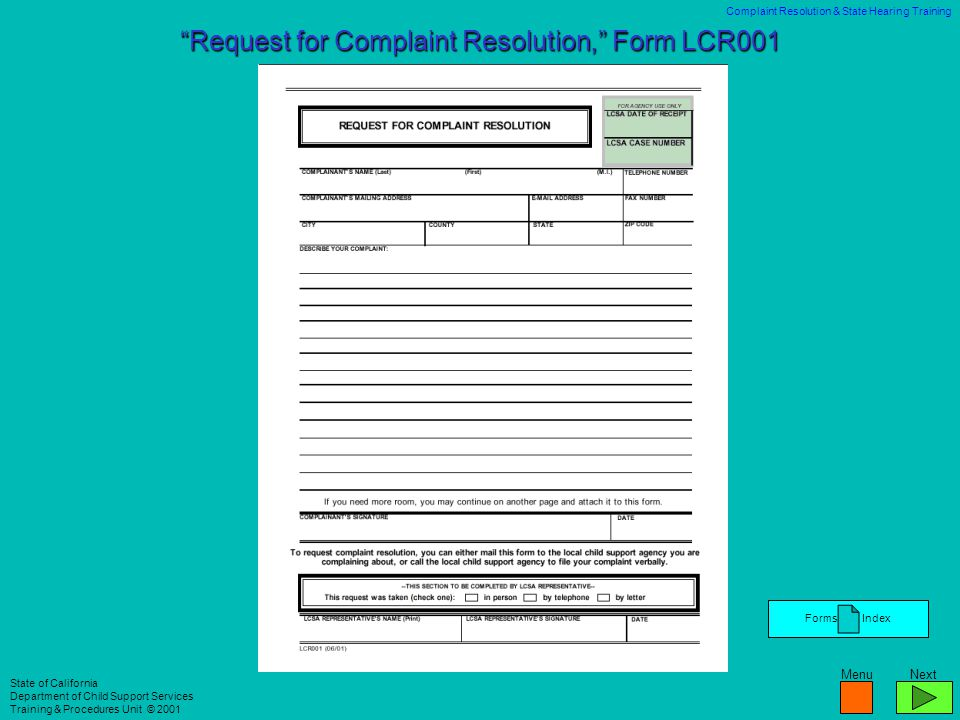 Request for Complaint Resolution, Form LCR001
