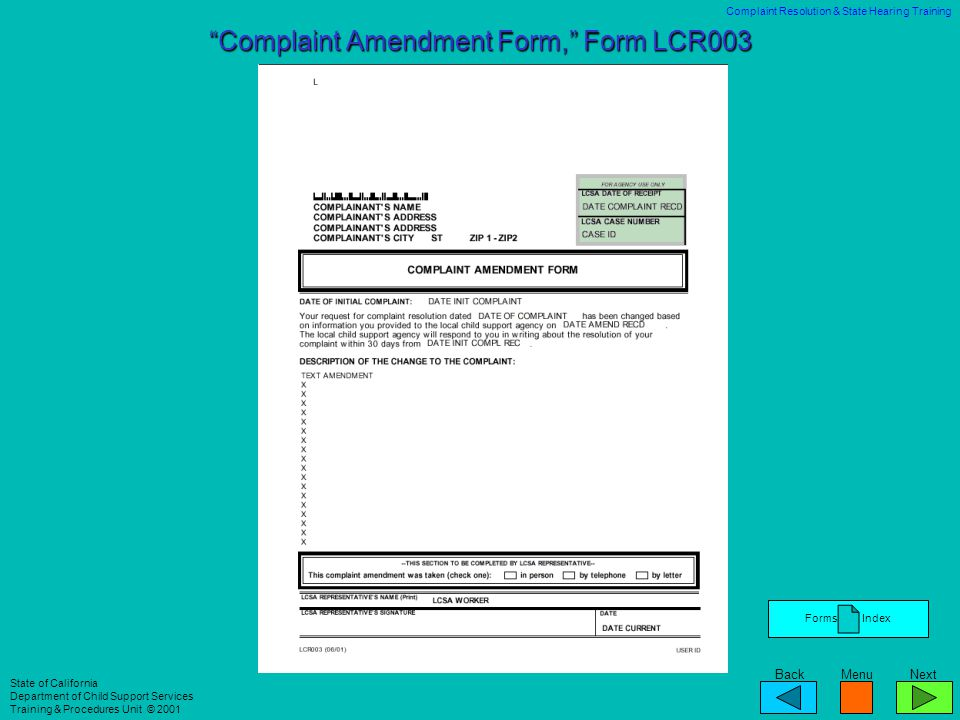Complaint Amendment Form, Form LCR003