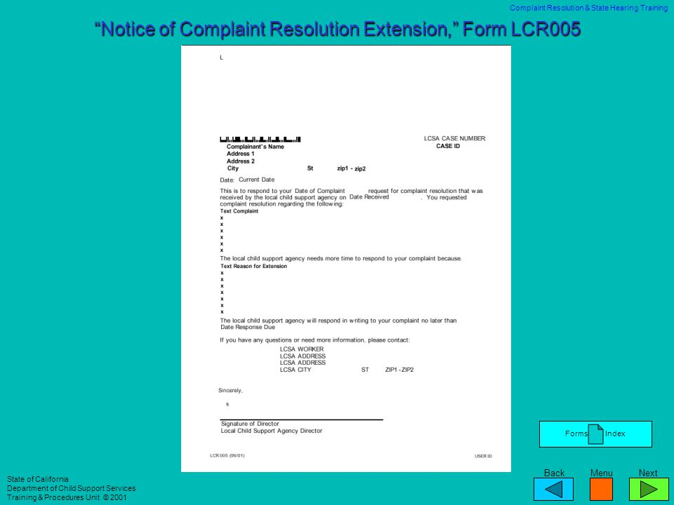 Notice of Complaint Resolution Extension, Form LCR005