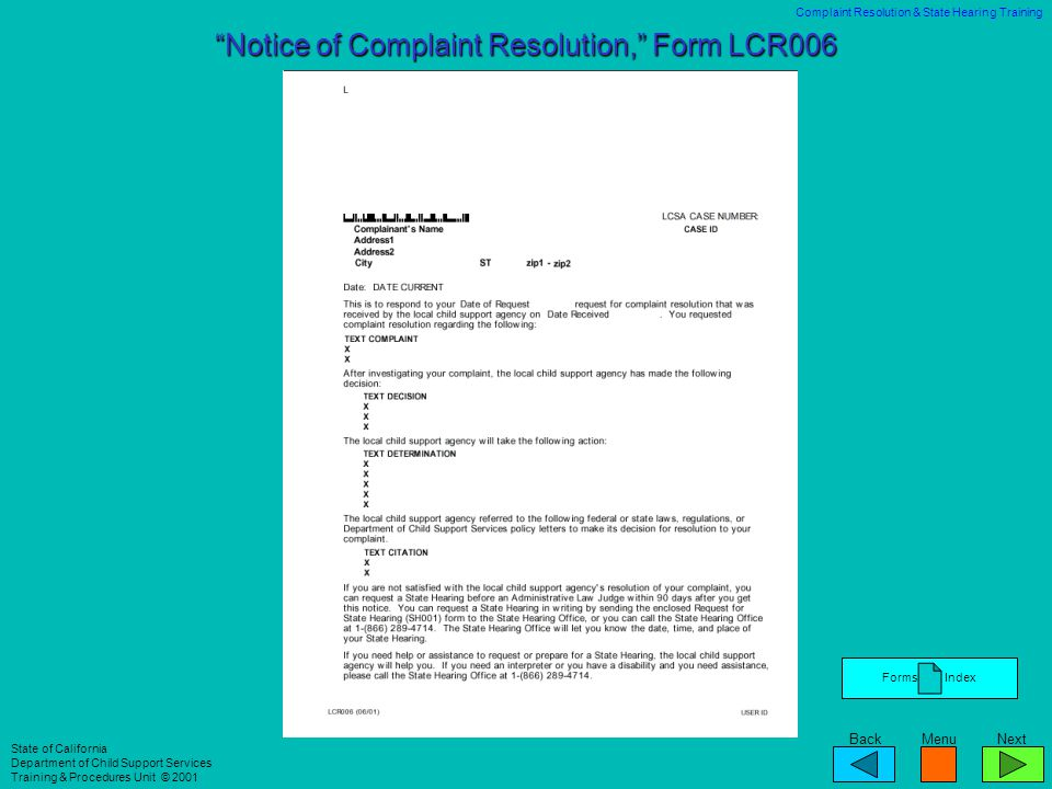 Notice of Complaint Resolution, Form LCR006