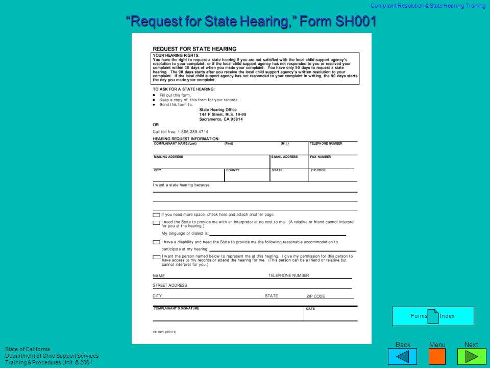 Request for State Hearing, Form SH001