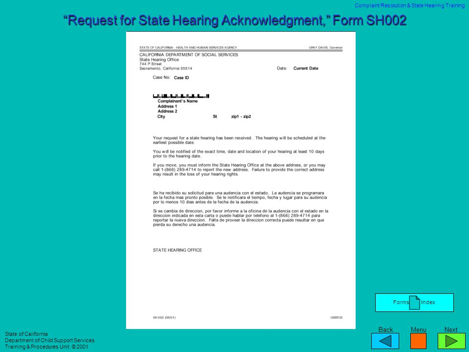 Request for State Hearing Acknowledgment, Form SH002