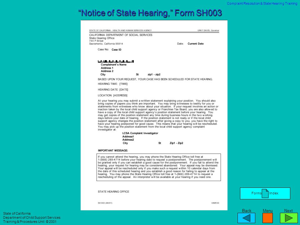 Notice of State Hearing, Form SH003