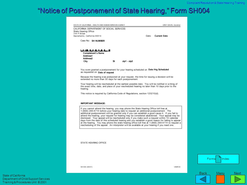 Notice of Postponement of State Hearing, Form SH004