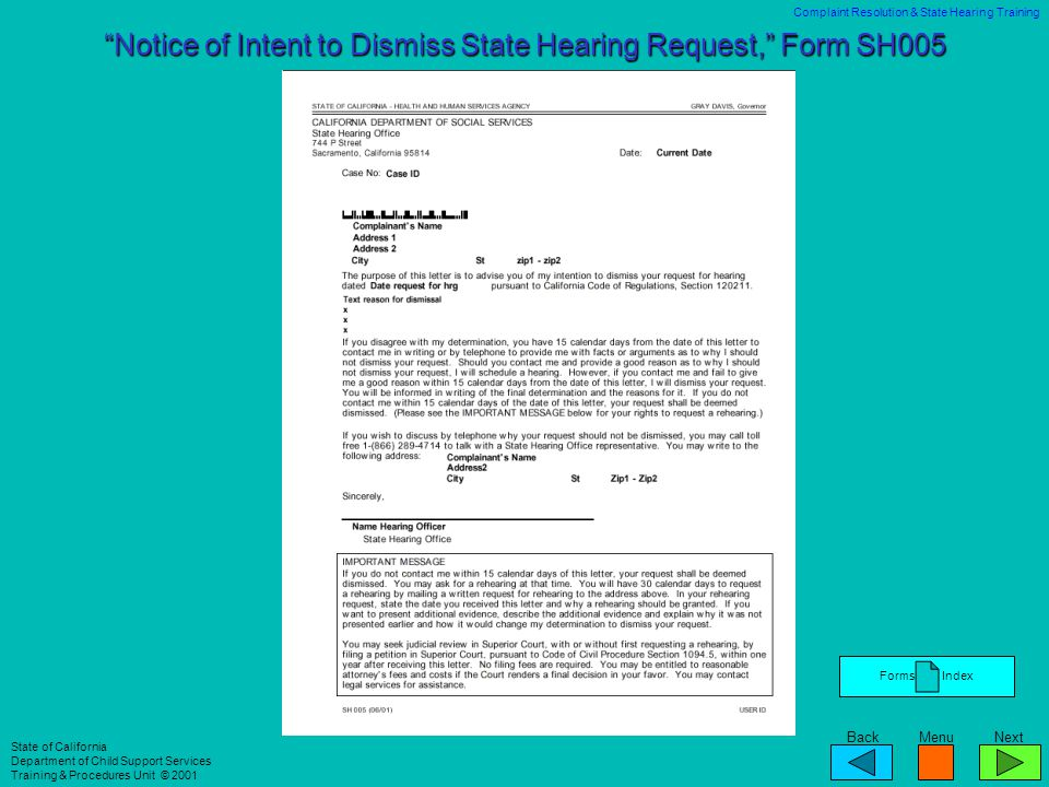 Notice of Intent to Dismiss State Hearing Request, Form SH005