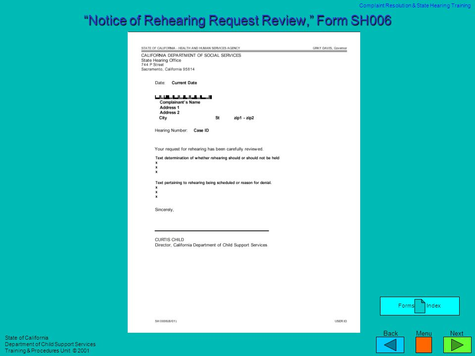 Notice of Rehearing Request Review, Form SH006