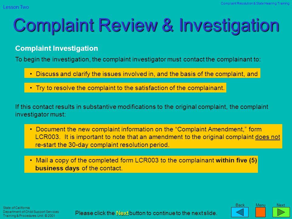 Complaint Review & Investigation