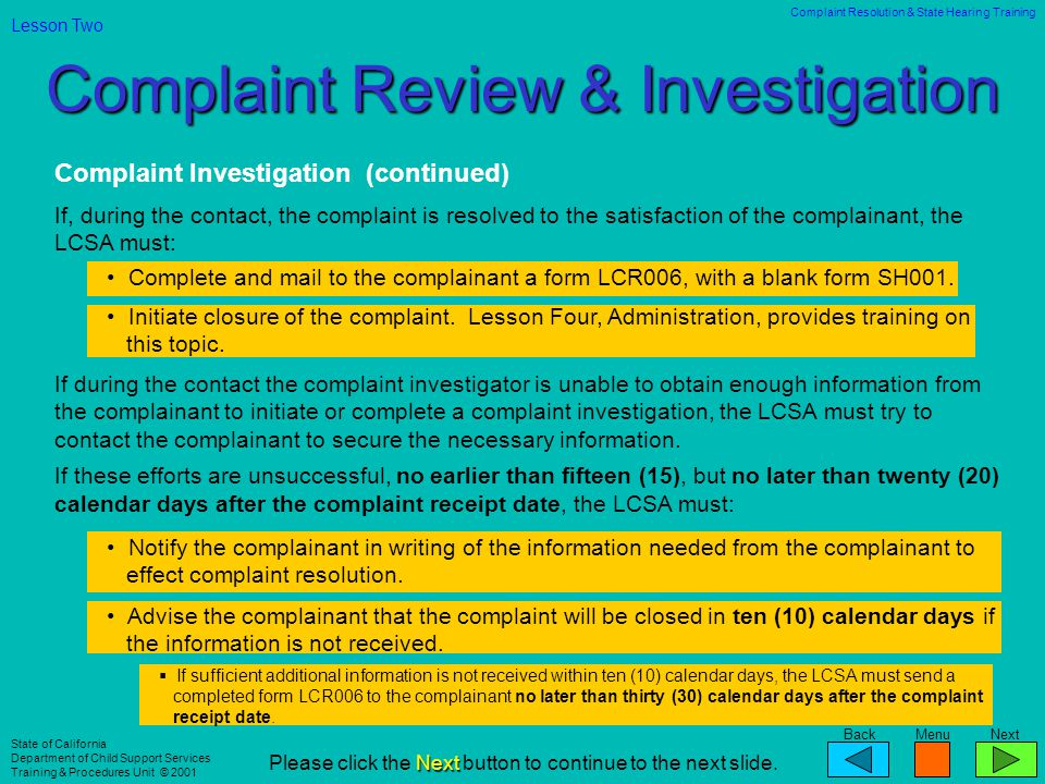 Complaint Review & Investigation
