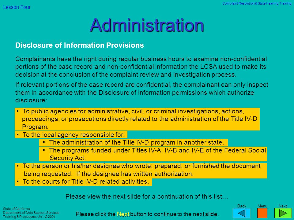 Administration Disclosure of Information Provisions
