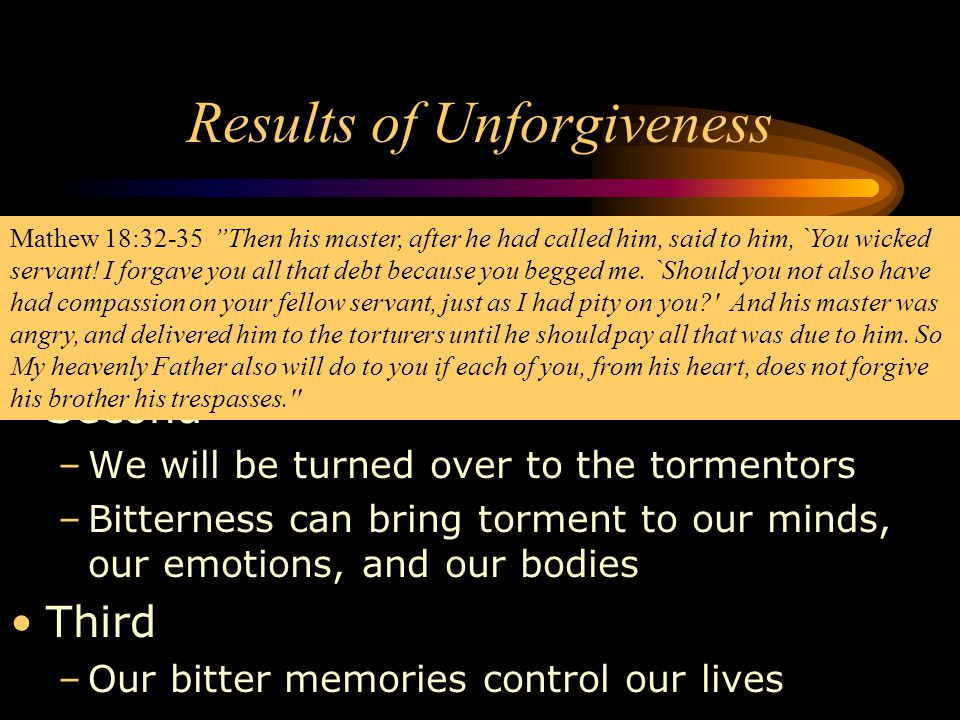 Results of Unforgiveness