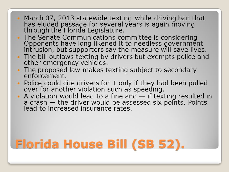 Florida House Bill (SB 52).