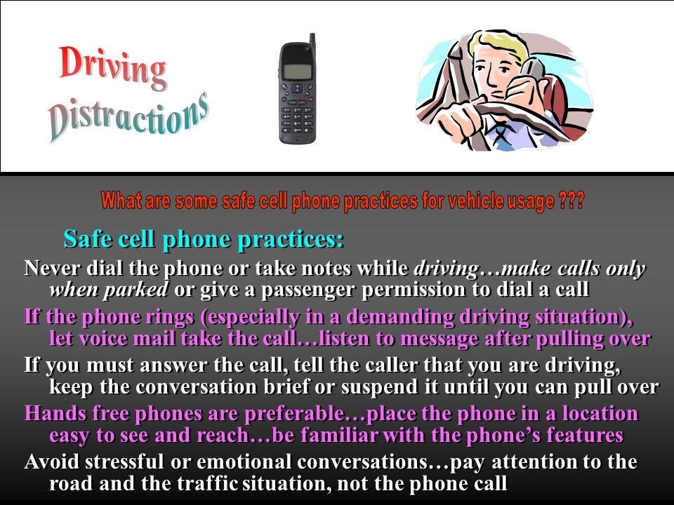 What are some safe cell phone practices for vehicle usage
