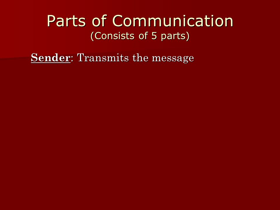 Parts of Communication (Consists of 5 parts)