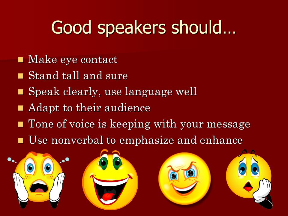 Good speakers should… Make eye contact Stand tall and sure