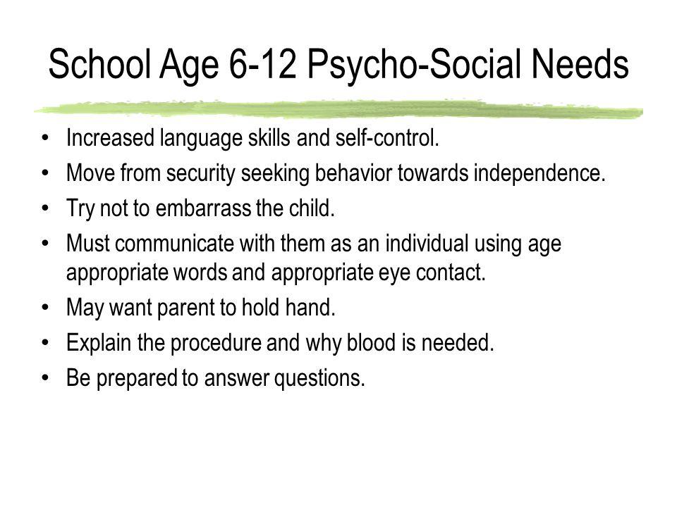 School Age 6-12 Psycho-Social Needs