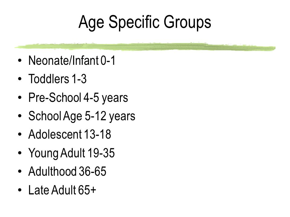 Age Specific Groups Neonate/Infant 0-1 Toddlers 1-3