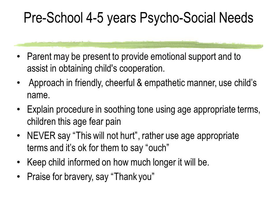 Pre-School 4-5 years Psycho-Social Needs
