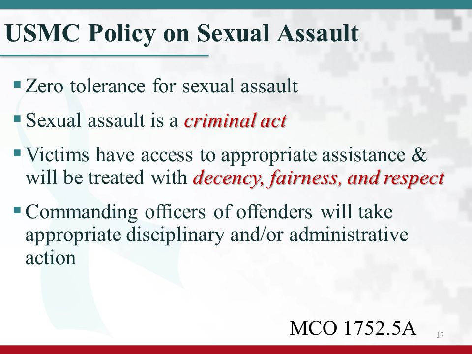USMC Policy on Sexual Assault