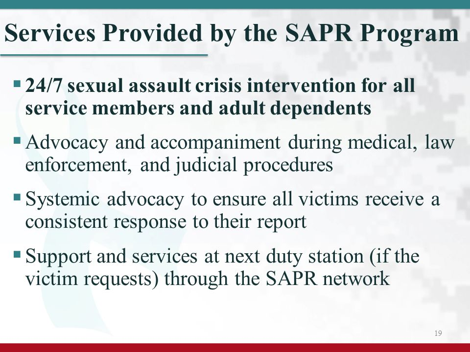 Services Provided by the SAPR Program