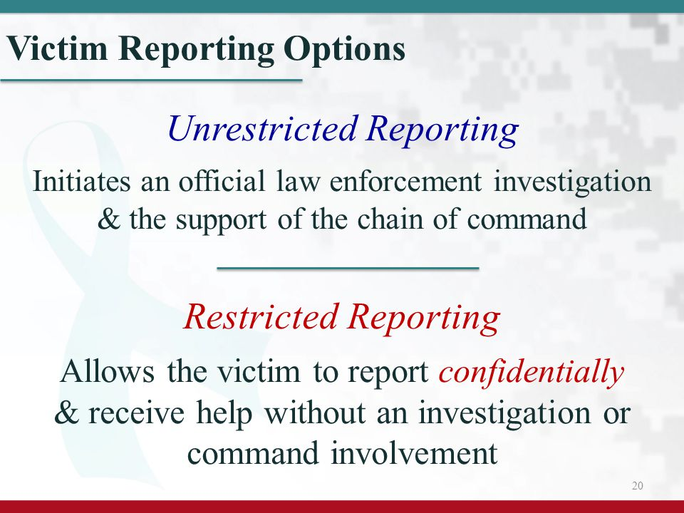 Victim Reporting Options