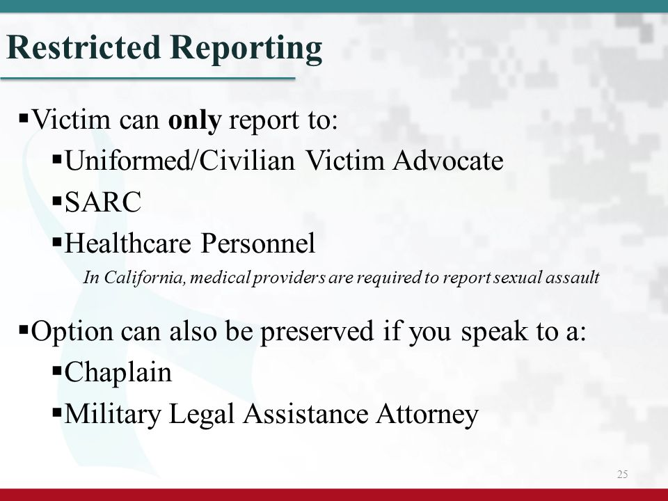 Restricted Reporting Victim can only report to:
