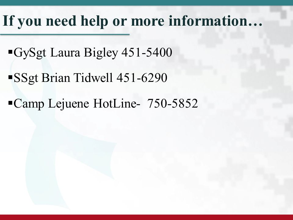 If you need help or more information…