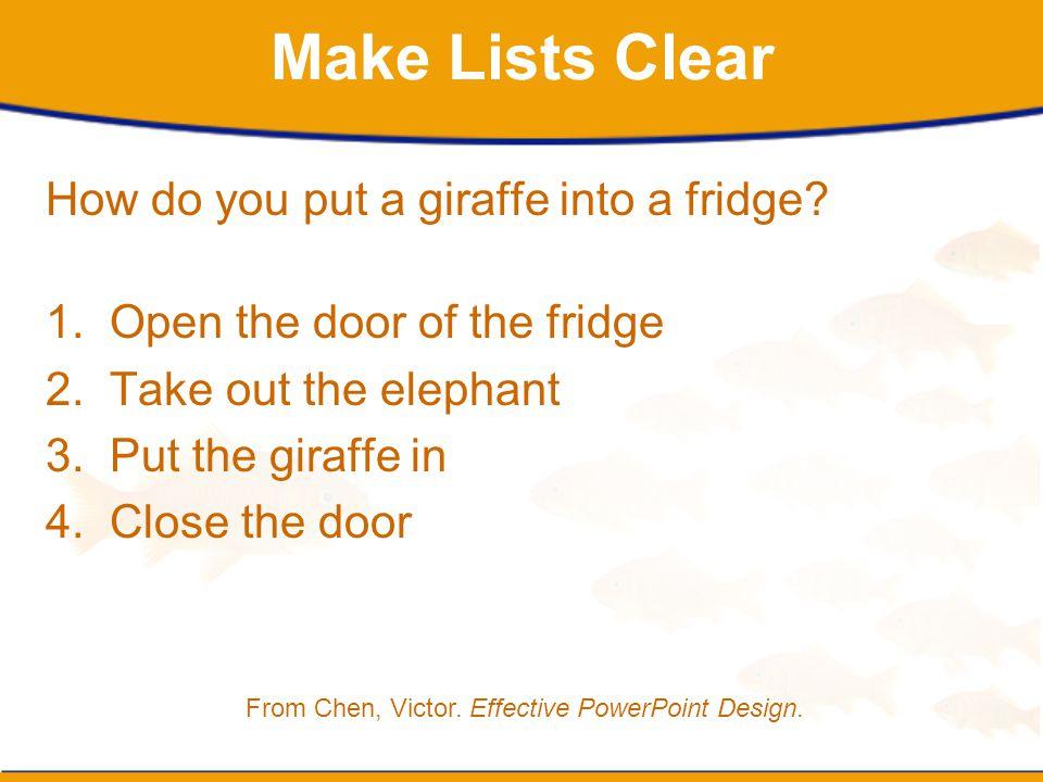 Make Lists Clear How do you put a giraffe into a fridge