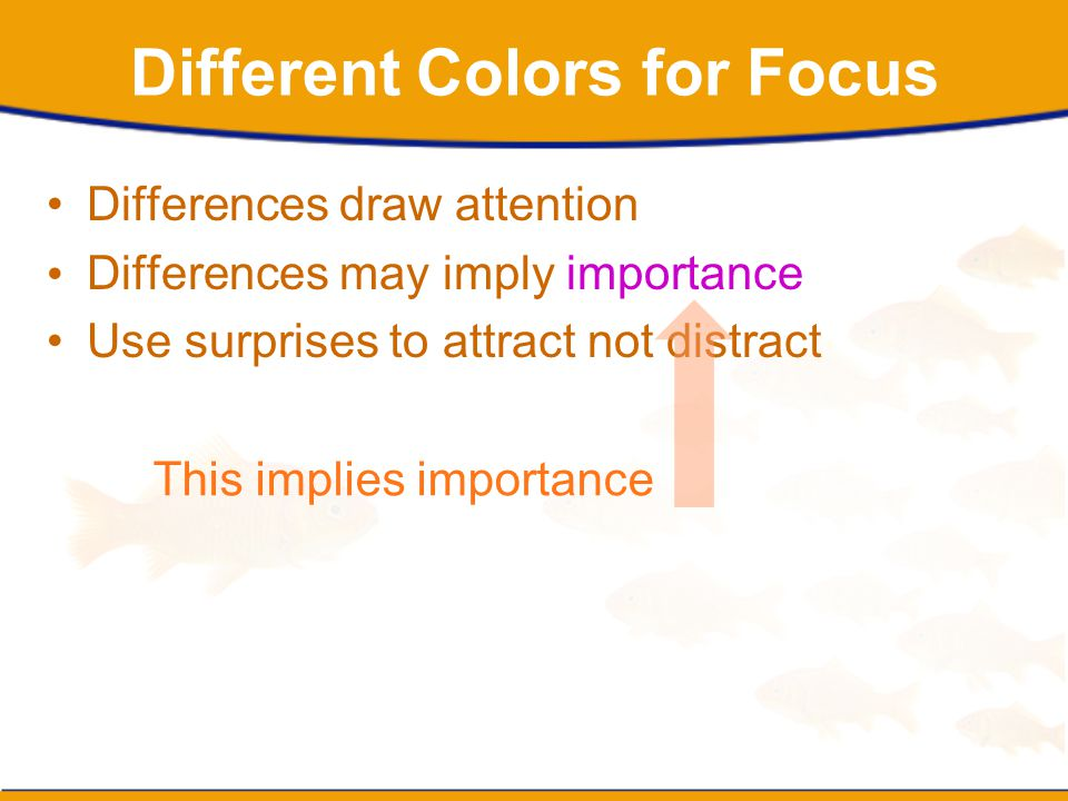 Different Colors for Focus