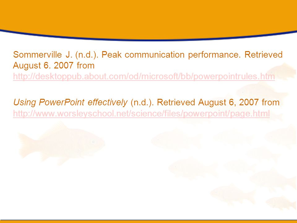 Sommerville J. (n. d. ). Peak communication performance