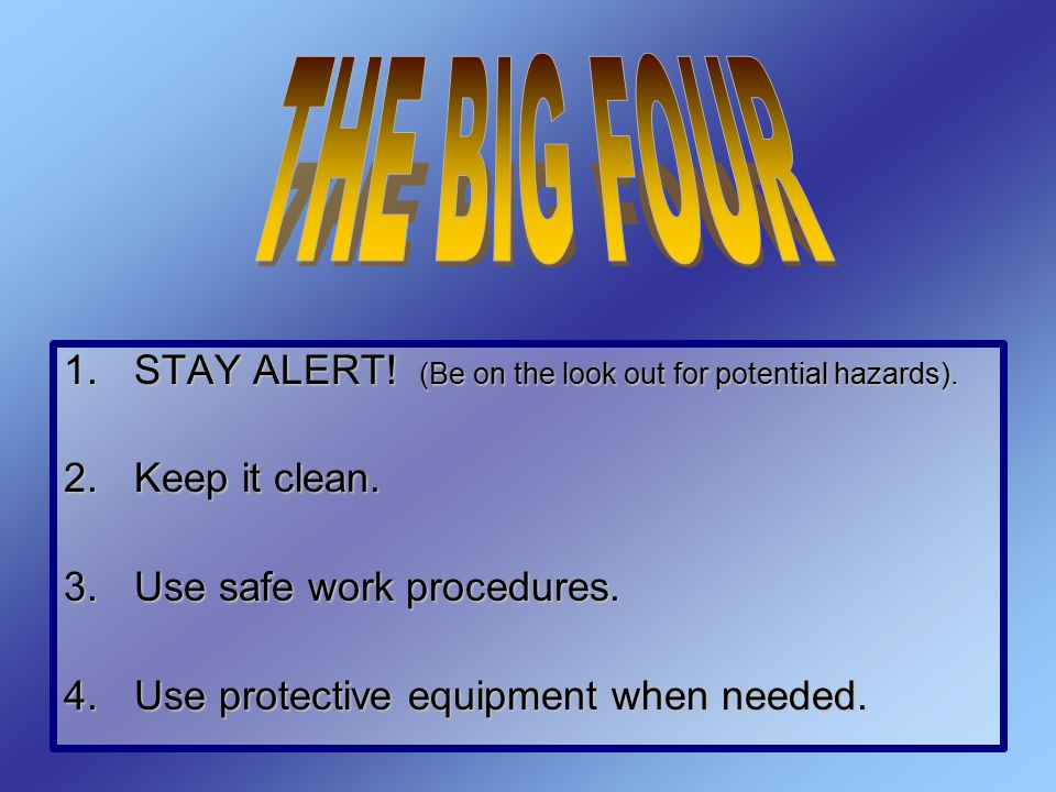 THE BIG FOUR STAY ALERT! (Be on the look out for potential hazards).