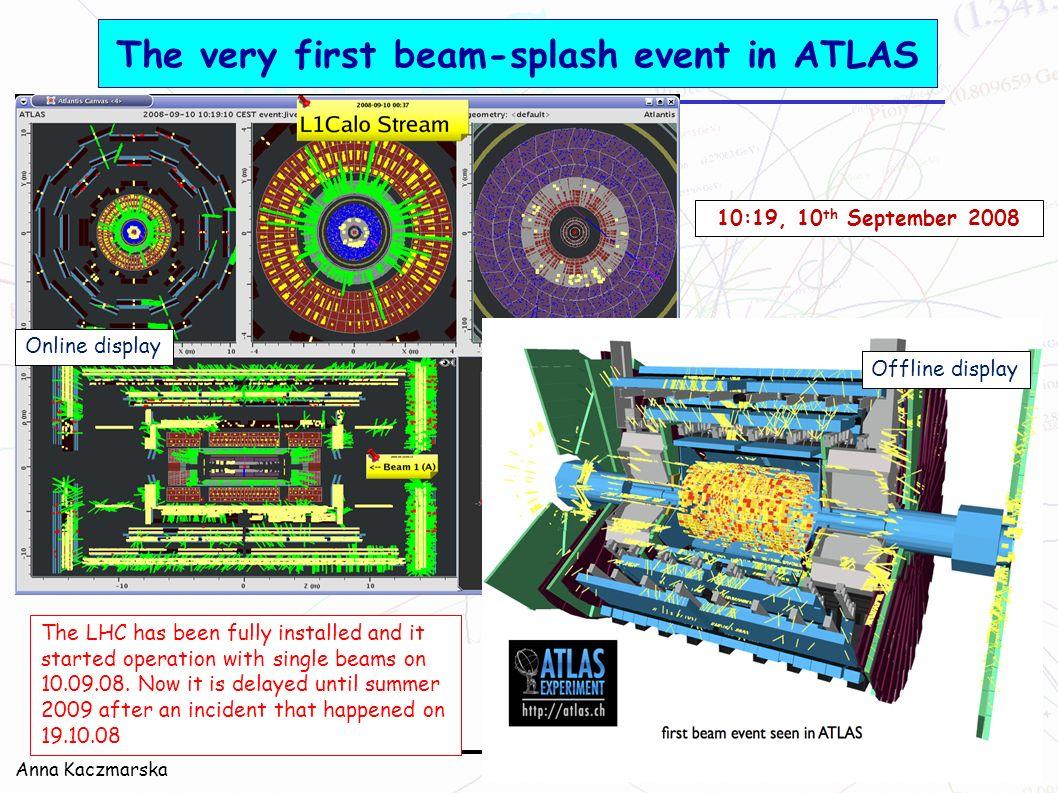 The very first beam-splash event in ATLAS
