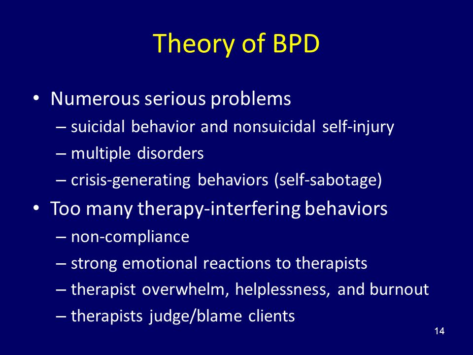 Theory of BPD Numerous serious problems