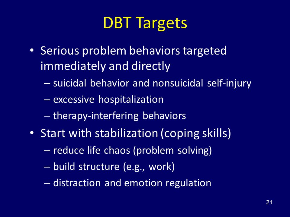 DBT Targets Serious problem behaviors targeted immediately and directly. suicidal behavior and nonsuicidal self-injury.