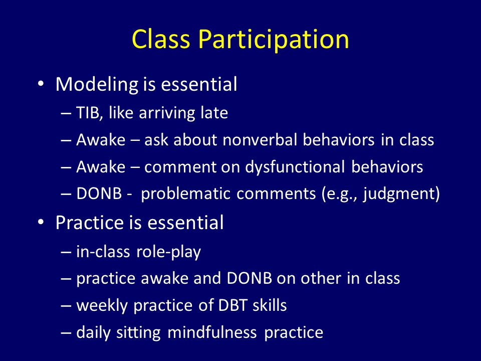 Class Participation Modeling is essential Practice is essential