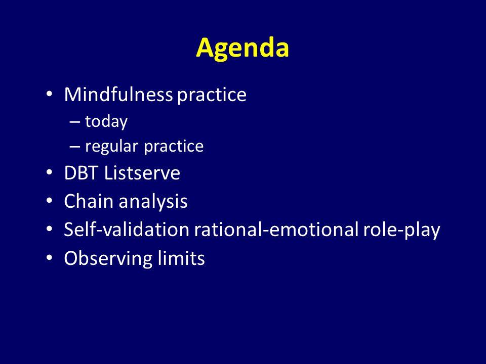 Agenda Mindfulness practice DBT Listserve Chain analysis
