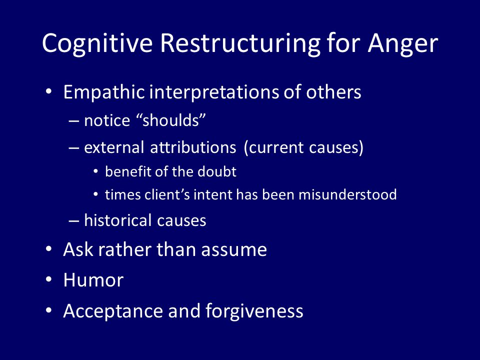 Cognitive Restructuring for Anger