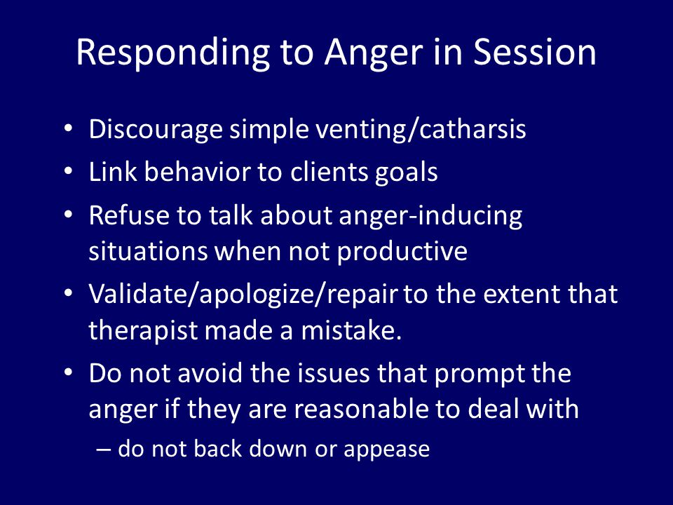 Responding to Anger in Session