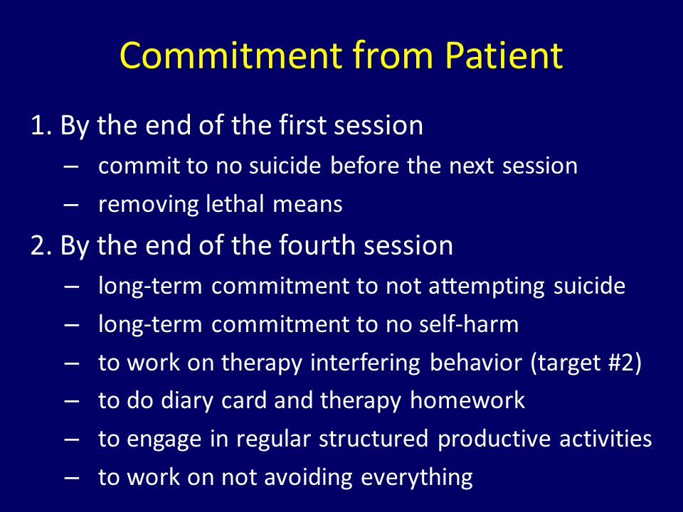 Commitment from Patient