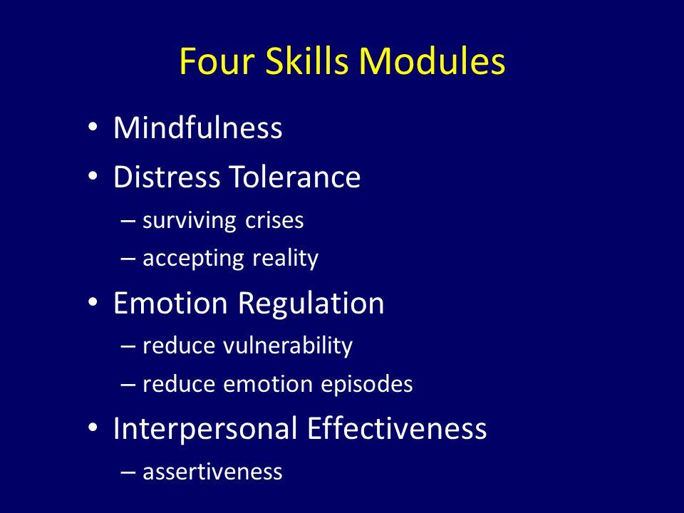 Four Skills Modules Mindfulness Distress Tolerance Emotion Regulation