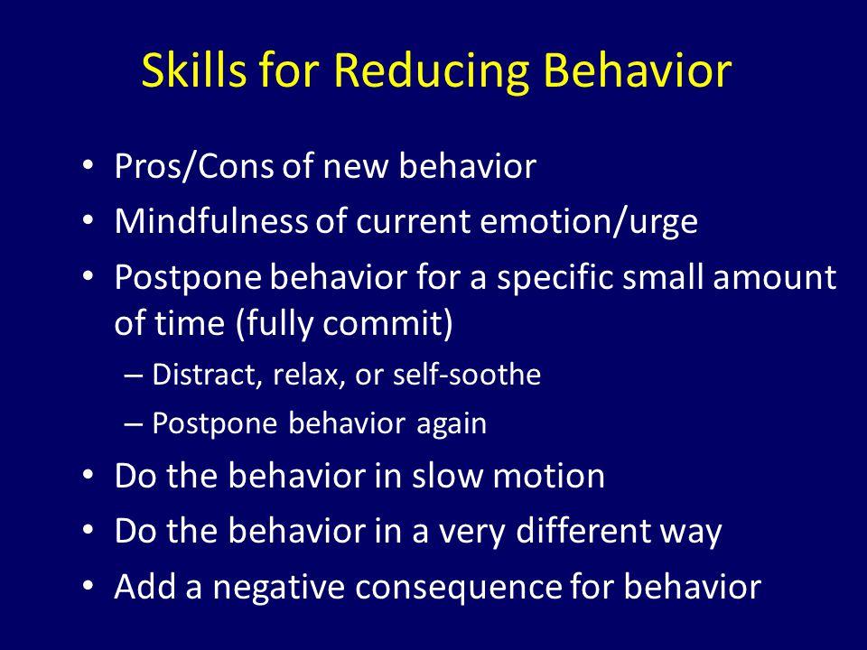 Skills for Reducing Behavior