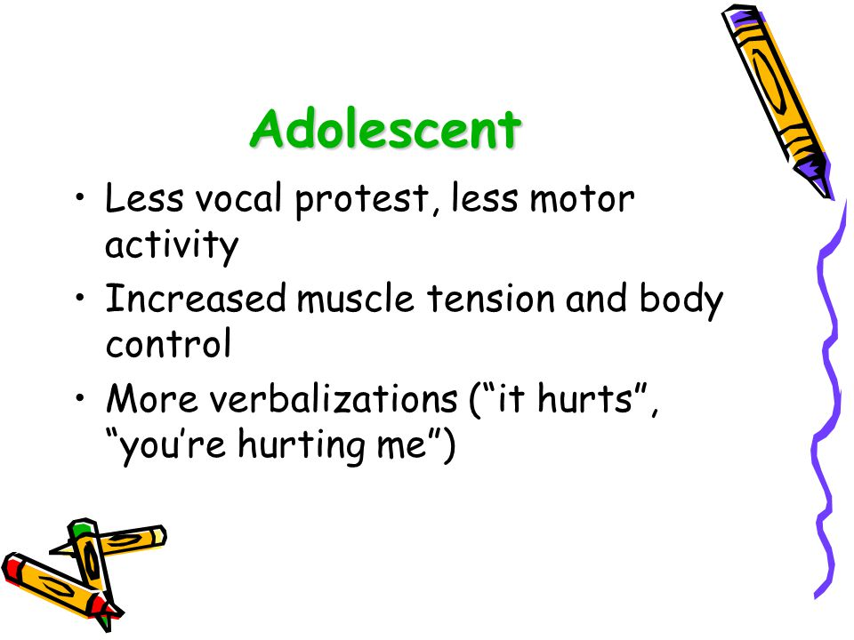 Adolescent Less vocal protest, less motor activity