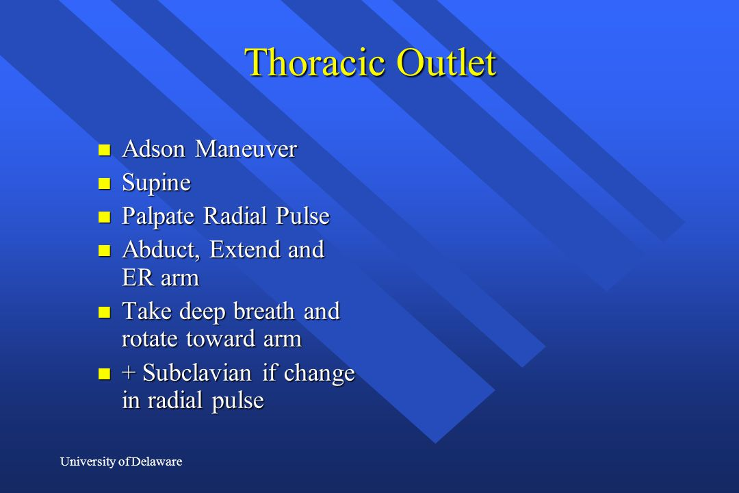 Thoracic Outlet Adson Maneuver Supine Palpate Radial Pulse