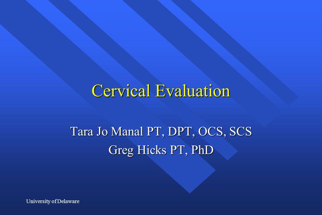 Tara Jo Manal PT, DPT, OCS, SCS Greg Hicks PT, PhD
