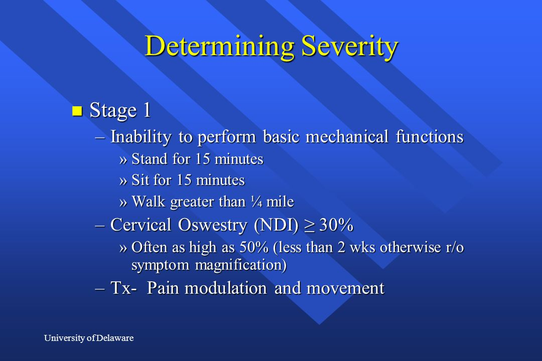 Determining Severity Stage 1