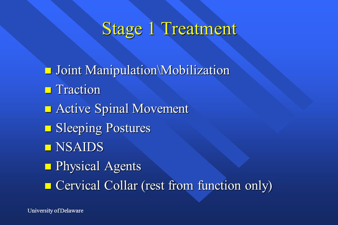 Stage 1 Treatment Joint Manipulation\Mobilization Traction
