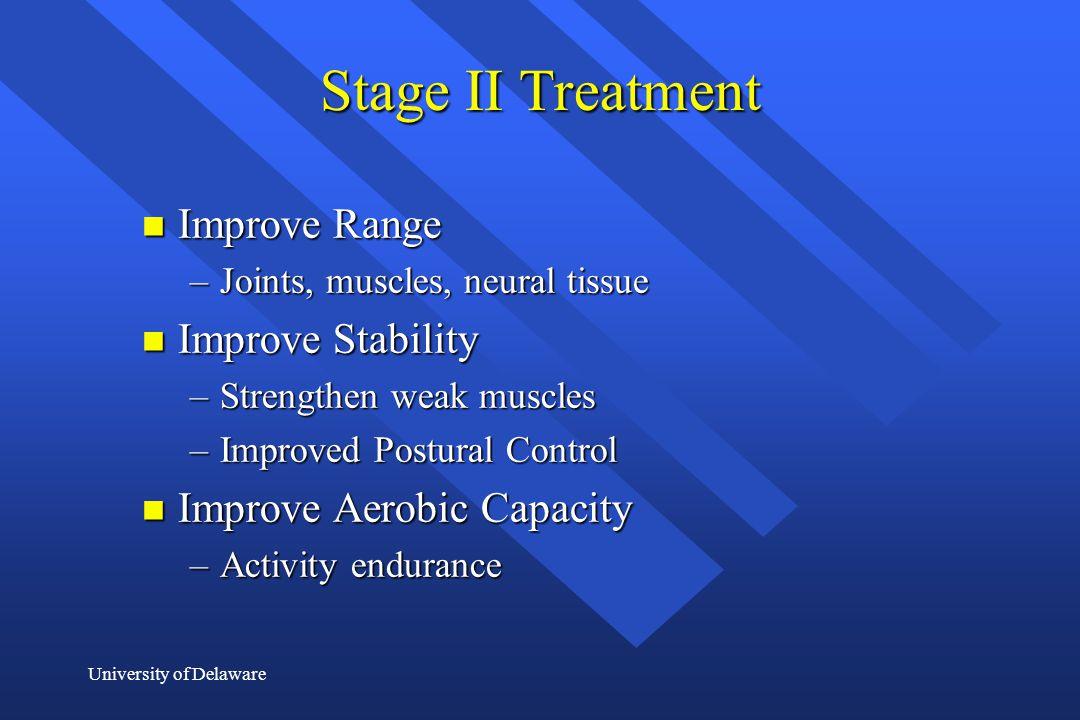 Stage II Treatment Improve Range Improve Stability