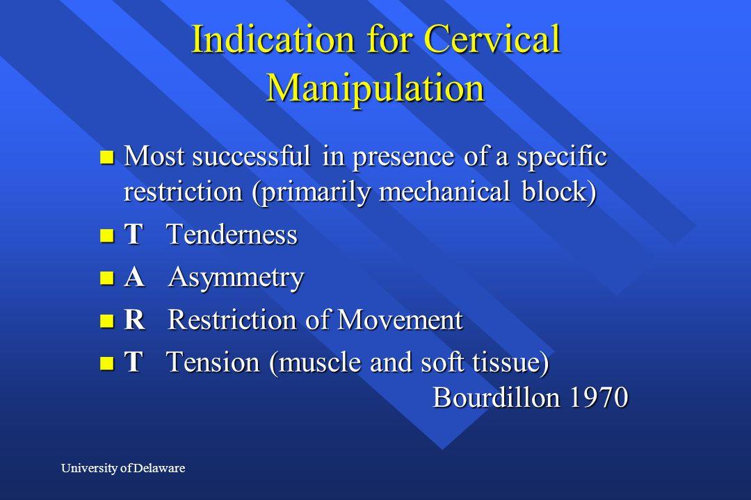 Indication for Cervical Manipulation