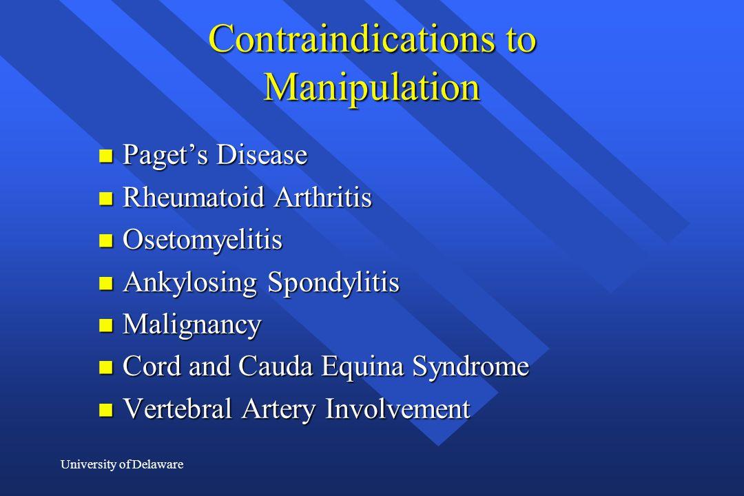 Contraindications to Manipulation