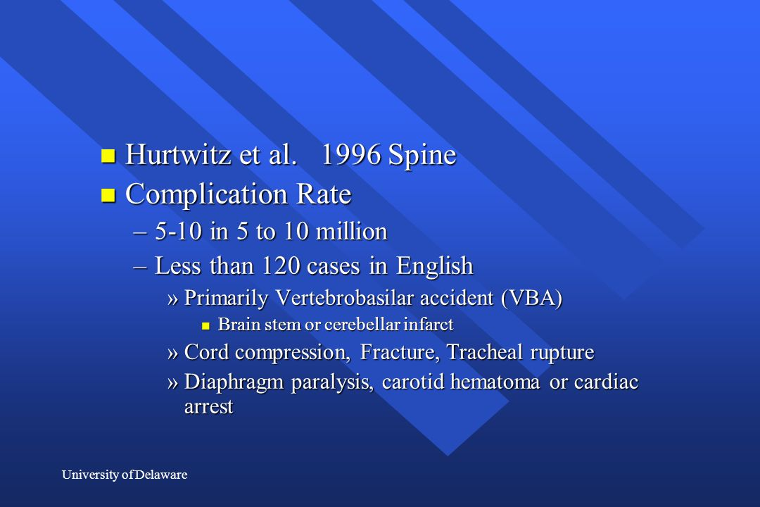 Hurtwitz et al. 1996 Spine Complication Rate 5-10 in 5 to 10 million