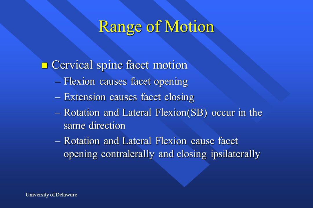 Range of Motion Cervical spine facet motion